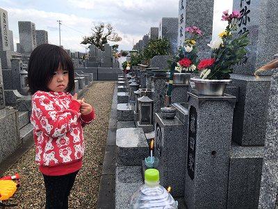 松原市で娘とお墓参り
