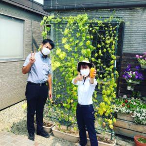 南大阪店のグリーンカーテンの前で